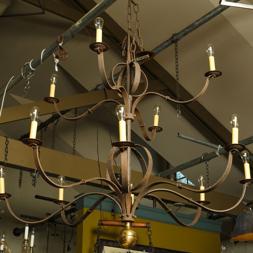 "Monumental Two-Tier Forged Iron ""Tuscarawas"" Chandelier"