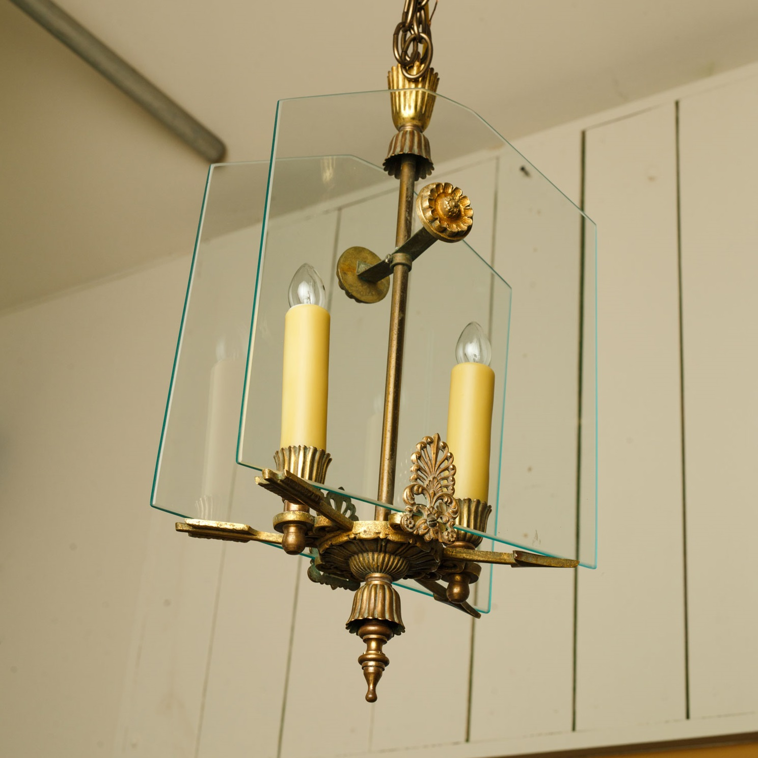 French Classic Brass and Glass Lantern