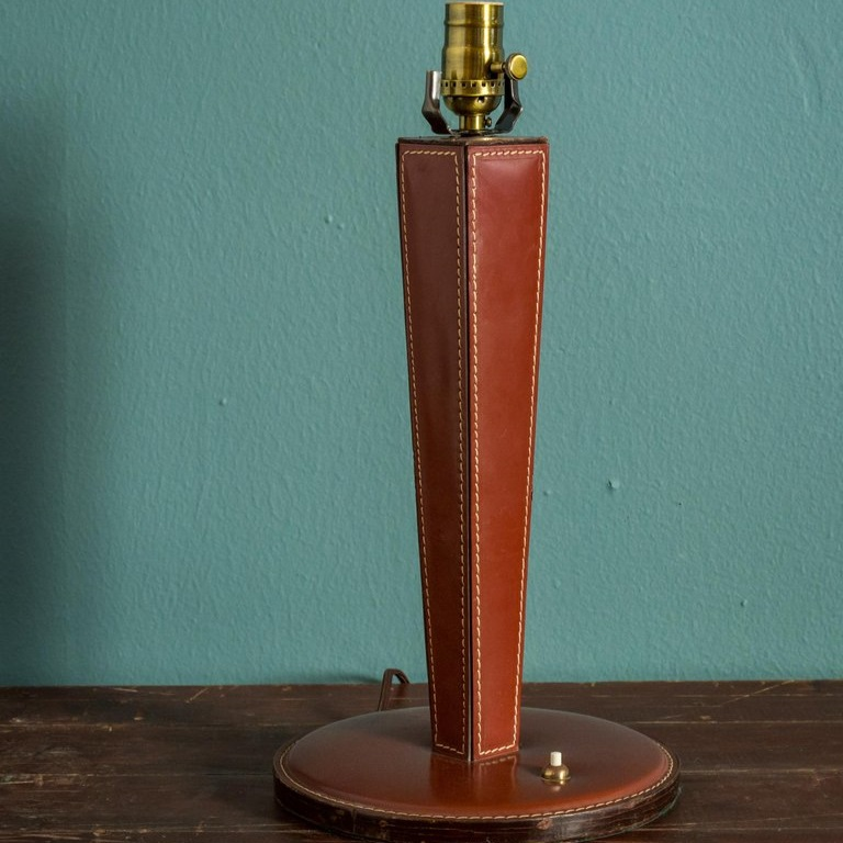 Mid-Century Leather Table Lamp