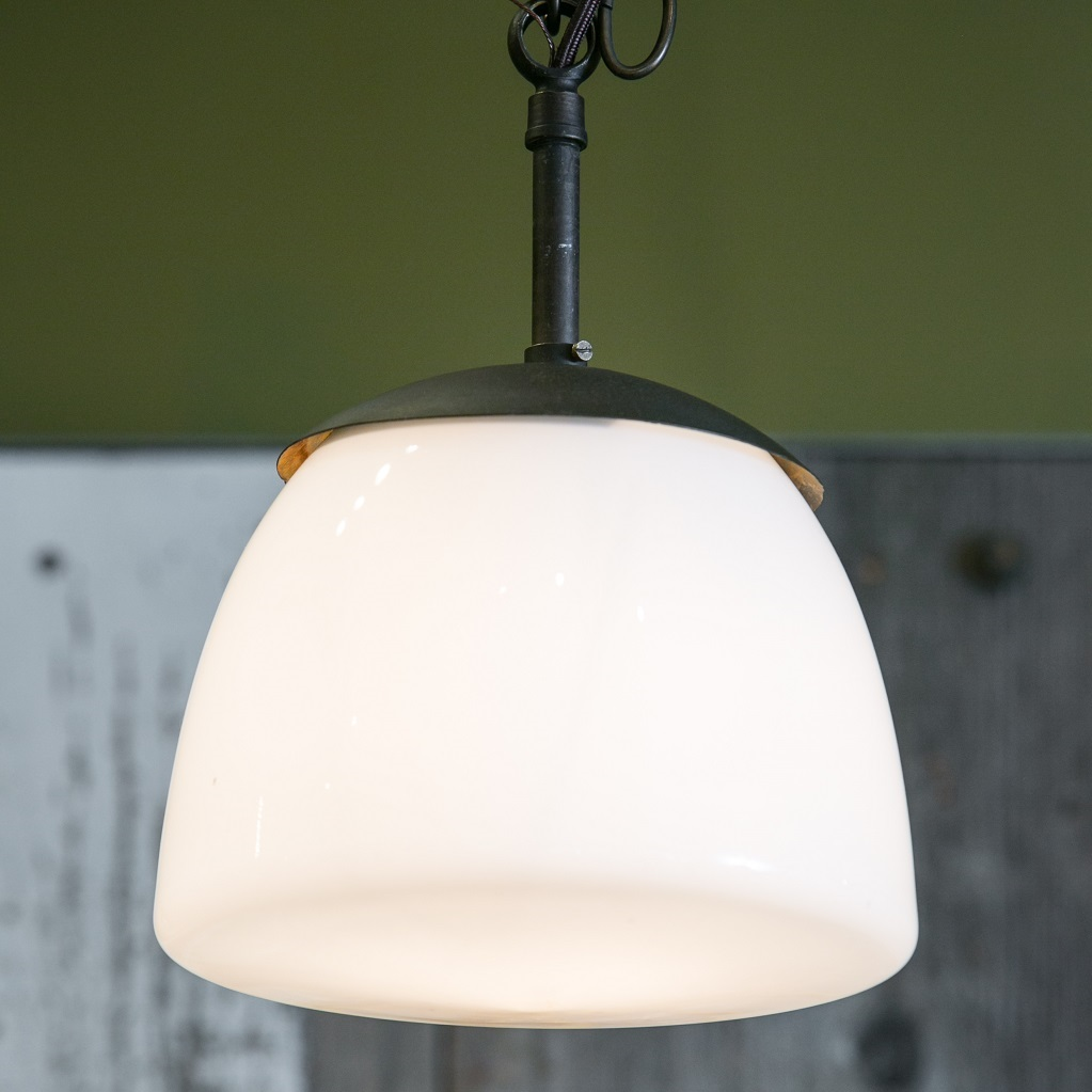 Antique Milk Glass and Iron Pendant