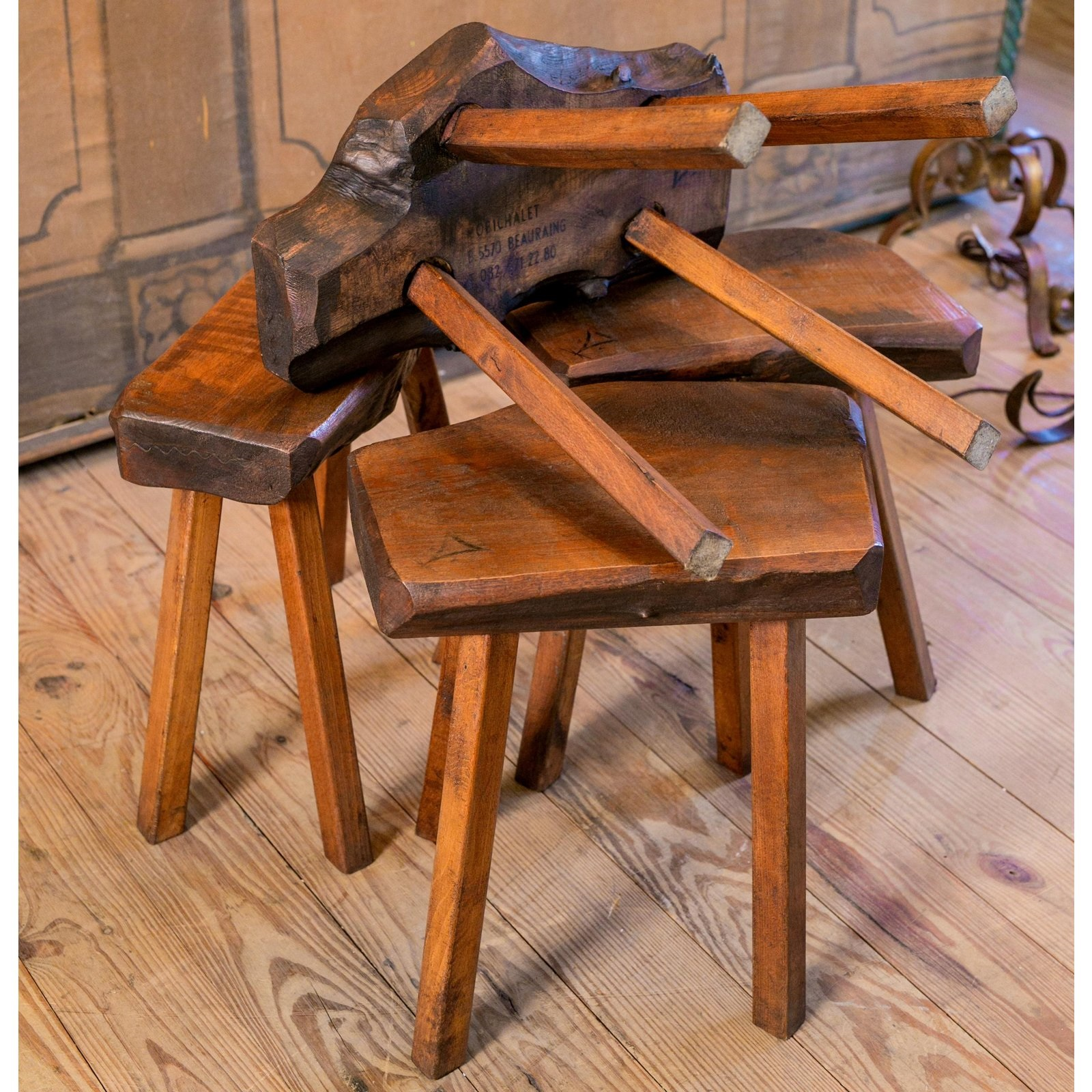 Four Belgian Oak Stools