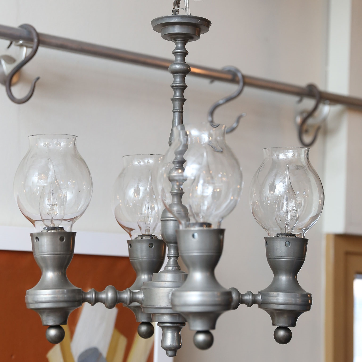 Four-Arm Belgian Pewter Chandelier