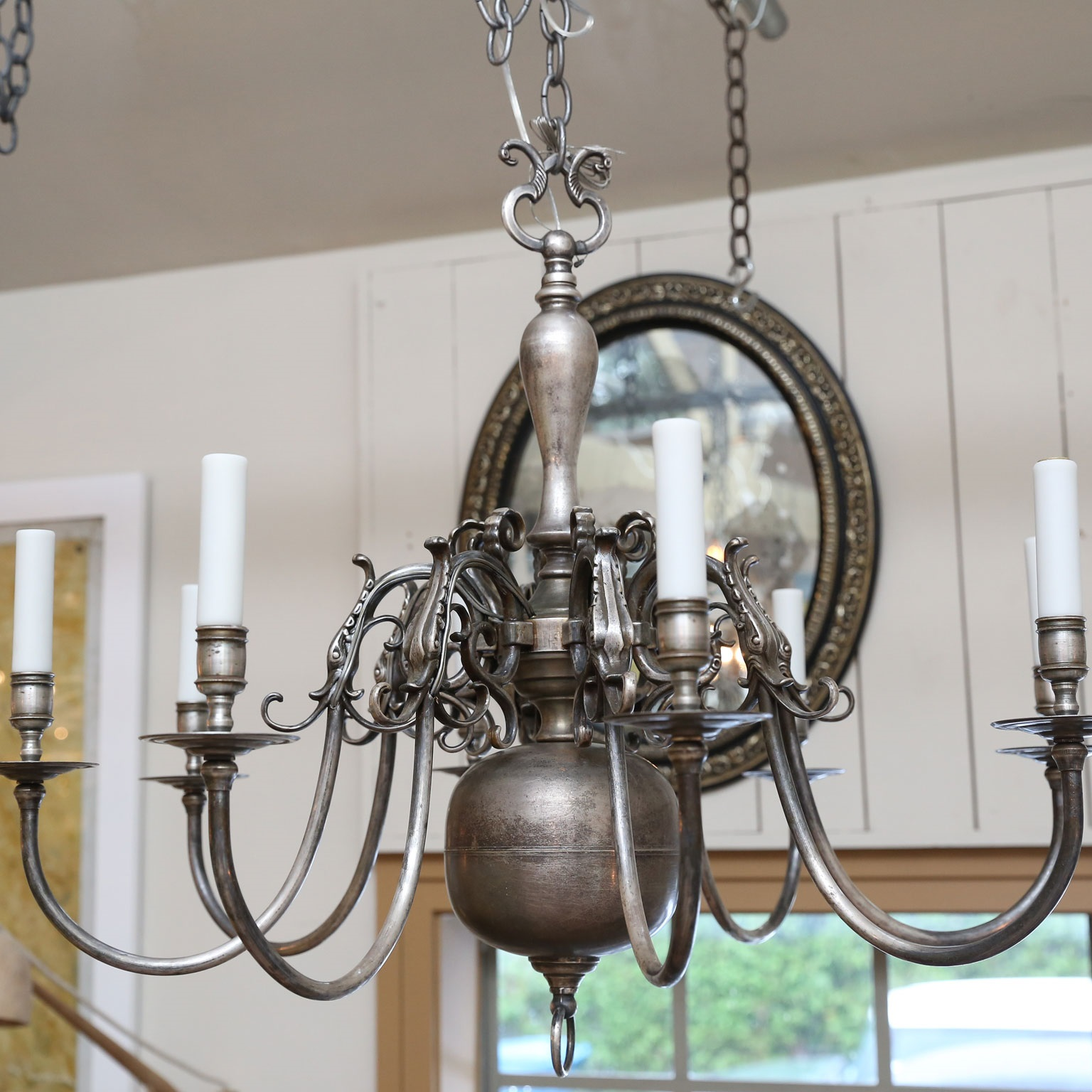Pair of Nickel on Bronze Flemish Chandeliers