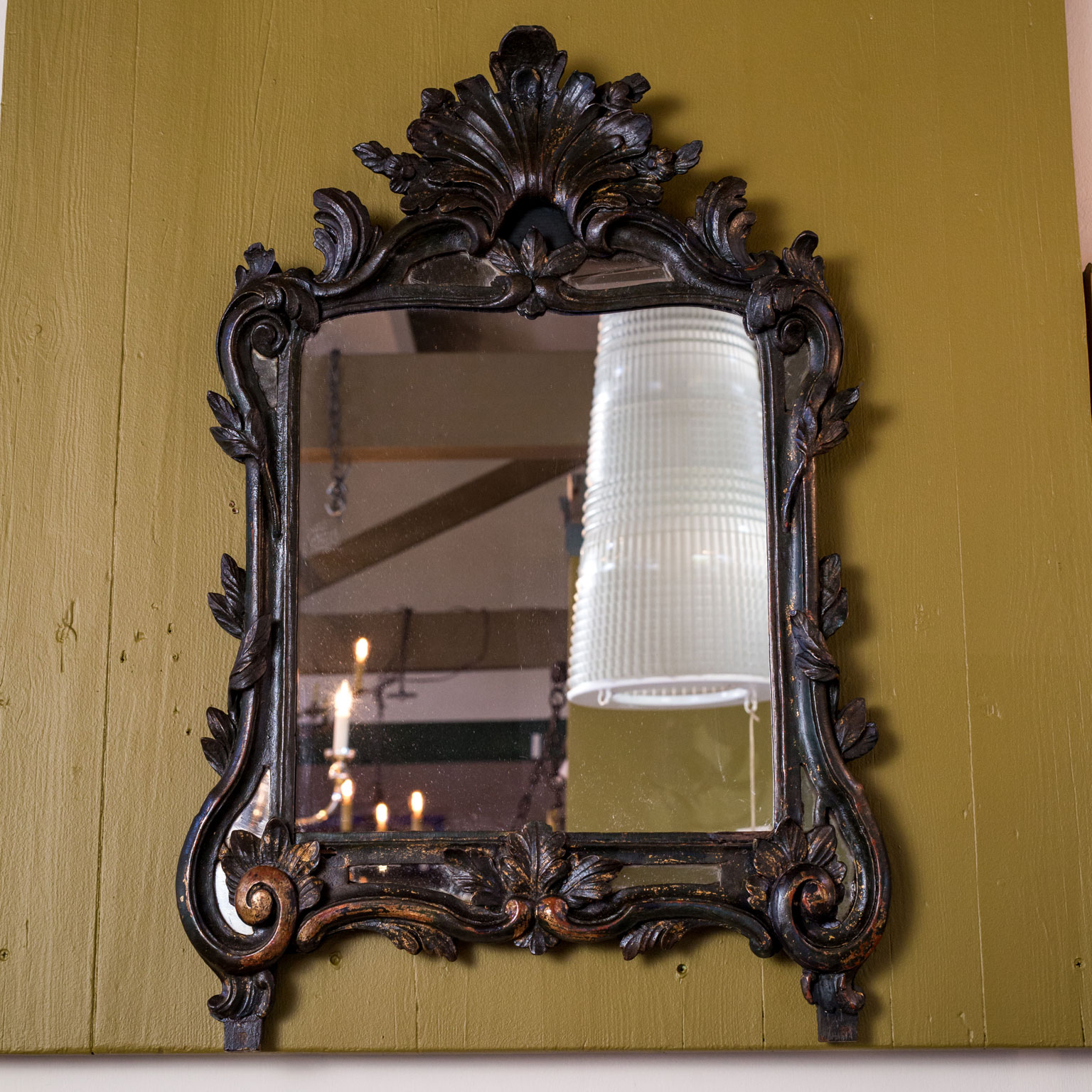 Ebonized Hand-Carved Italian Mirror