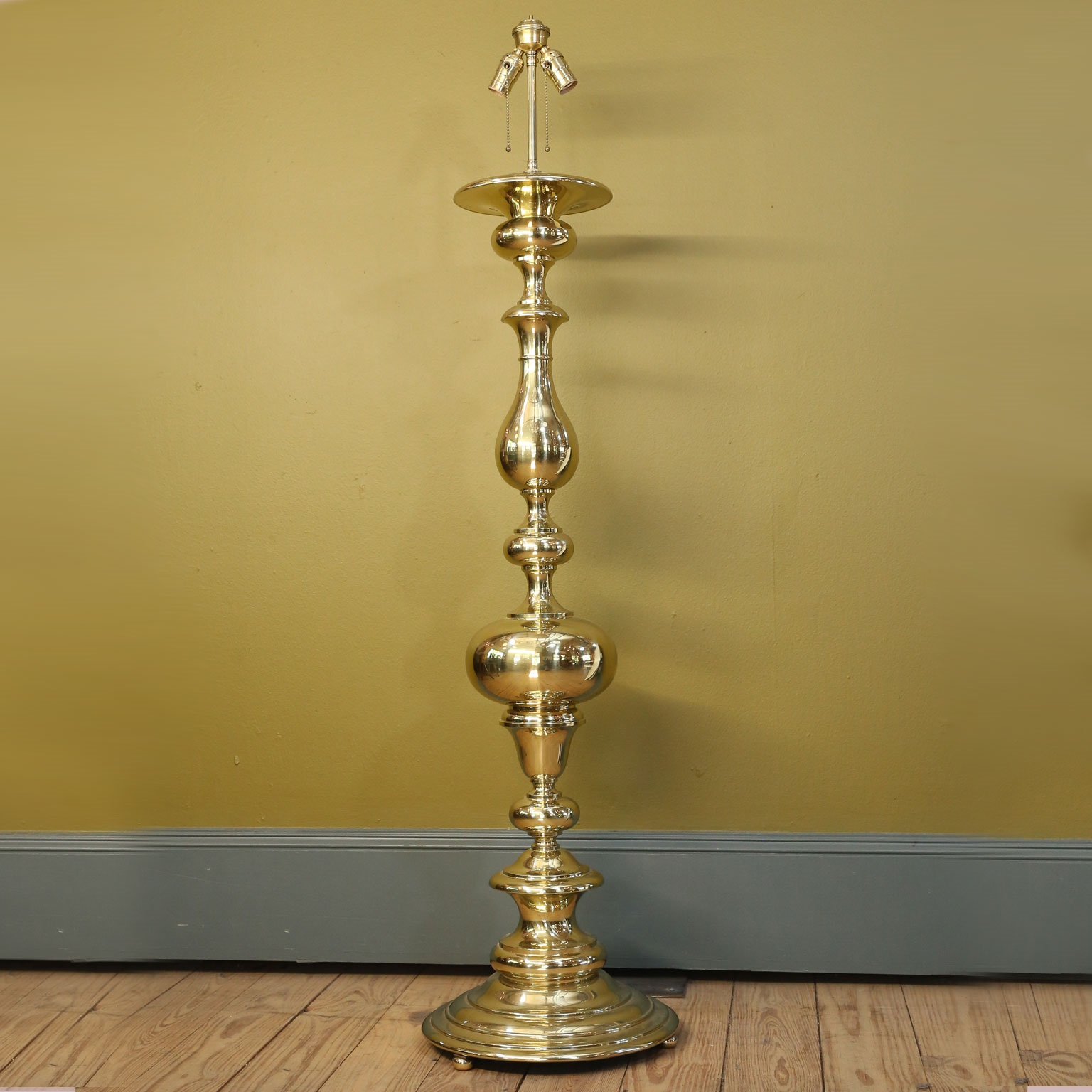 Polished Brass Georgian Style Floor Lamp