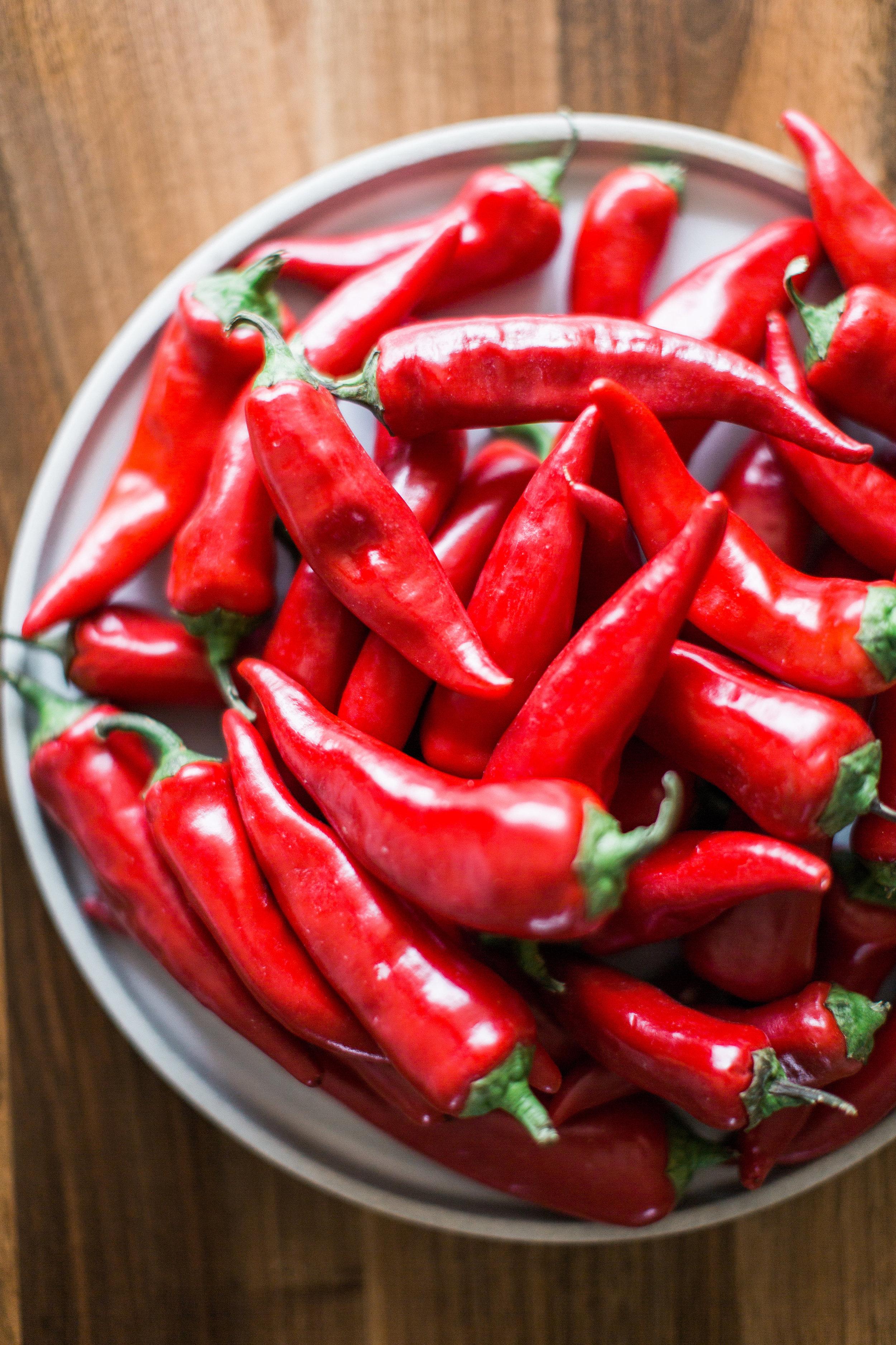 fresh red chilis.