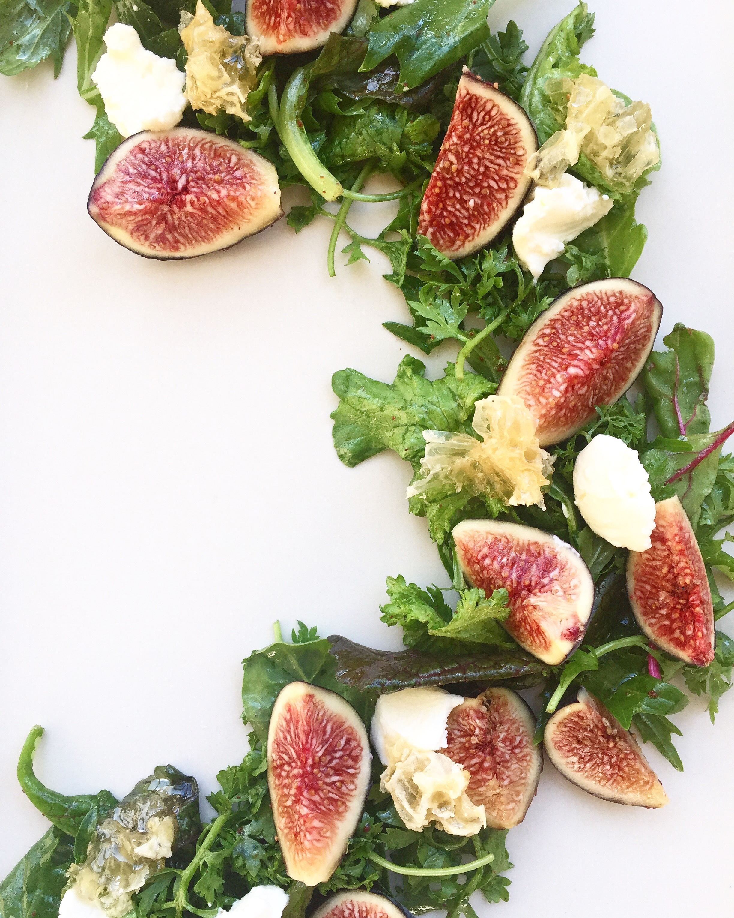 fig, farmers' cheese, honeycomb salad.