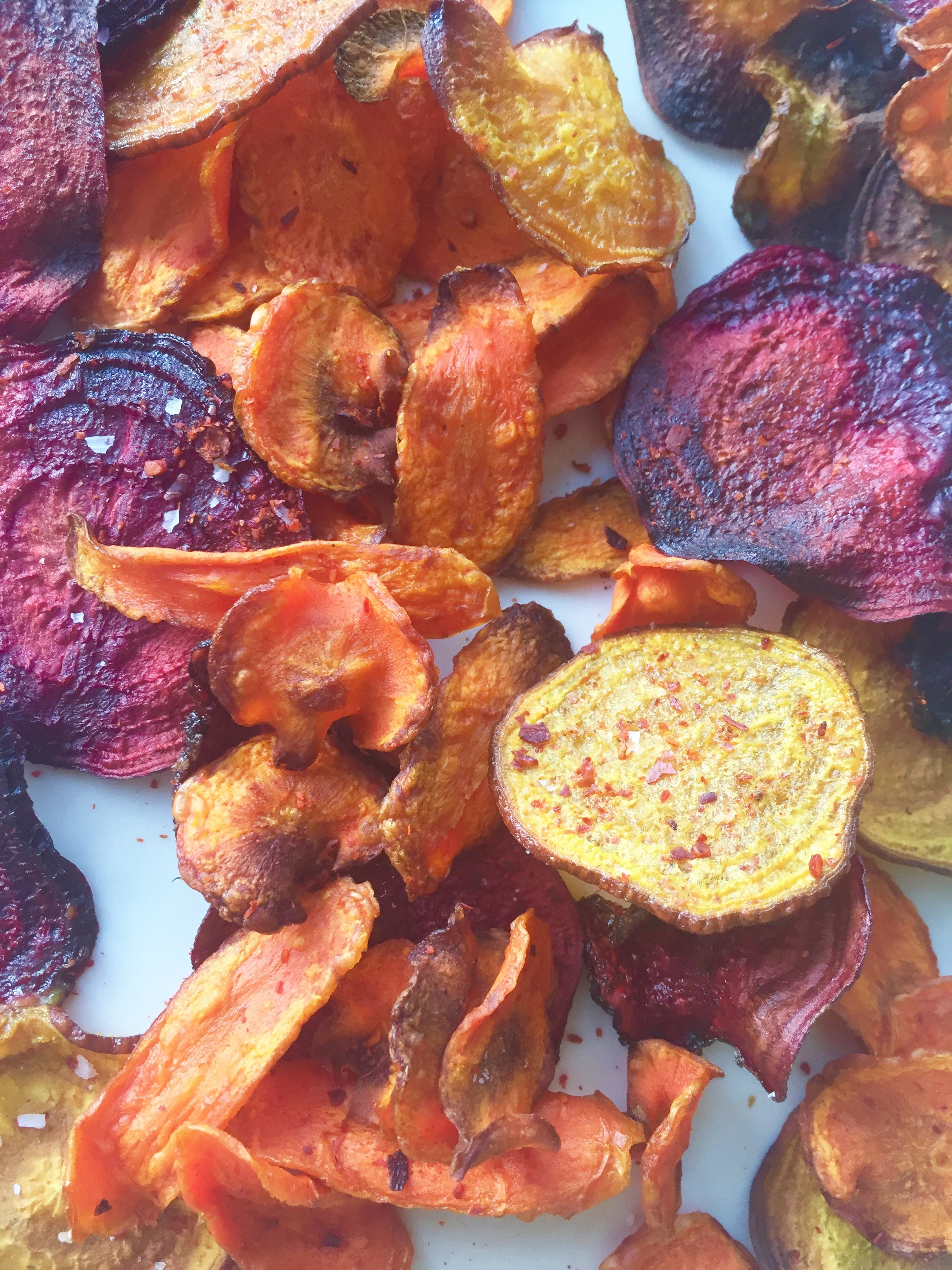 fall vegetable chips + miso-spiked mustard dip