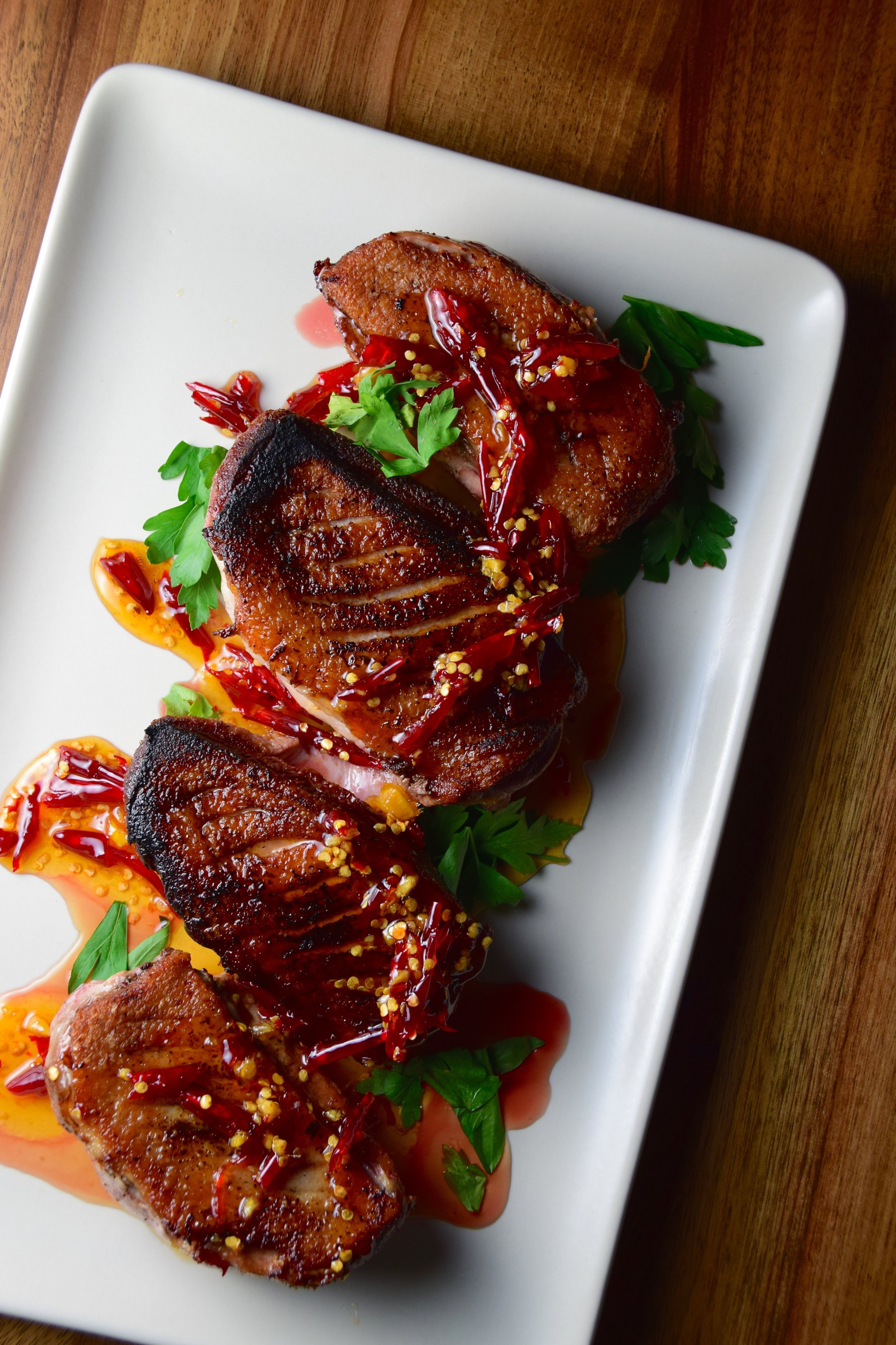 chile jam + crispy duck breast.