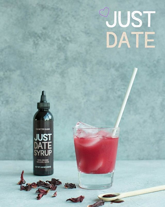 For Valentines' Day, we're offering free shipping on all sets of 3!! For 24 hours only, and guaranteed arrival by February 13th. Use the code JUSTDATE for free shipping, AND make sure to snag the recipe for this hibiscus-mint-@justdatesyrup agua fresca on our recipe page 💜