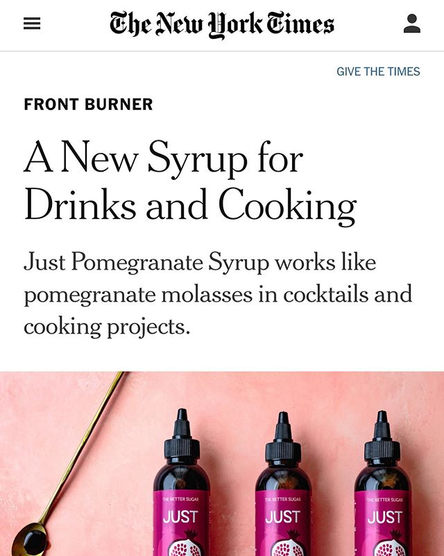 Entrepreneurship has the highest highs...this feels insane. @nytimes this week- couldn't be more psyched to announce the launch of Just Pomegranate Syrup this way. 😭😂😍🤪
