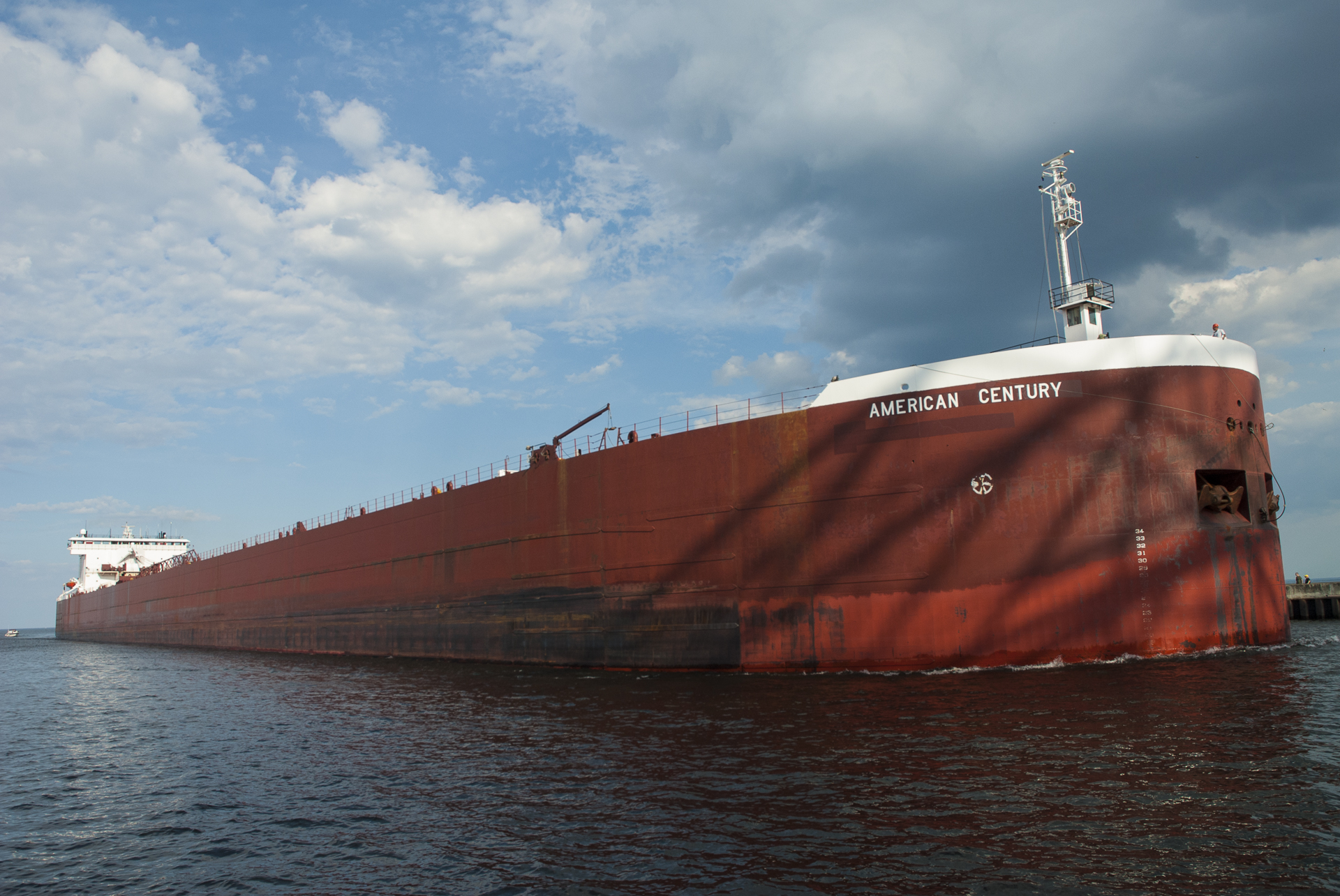 Tanker in the shadow of the Duluth Bridge