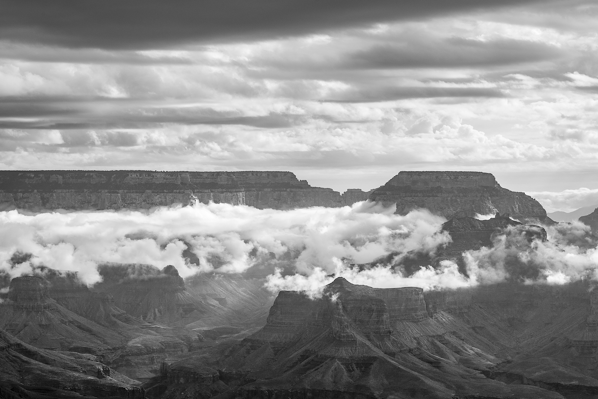 Morning clouds over the Grand Canyon from Yavapai Point