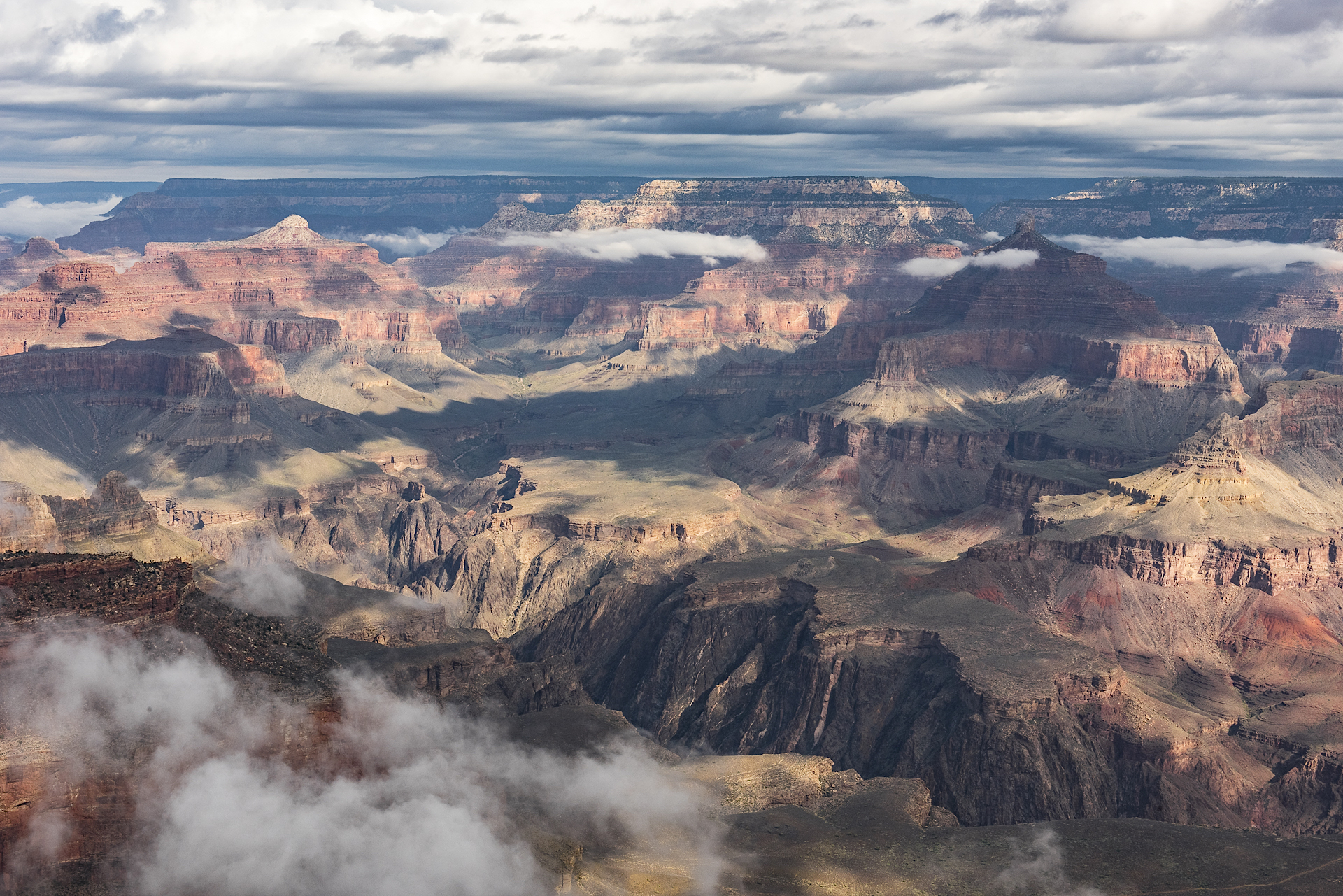Morning clouds linger over the Grand Canyon at Yavapai Point
