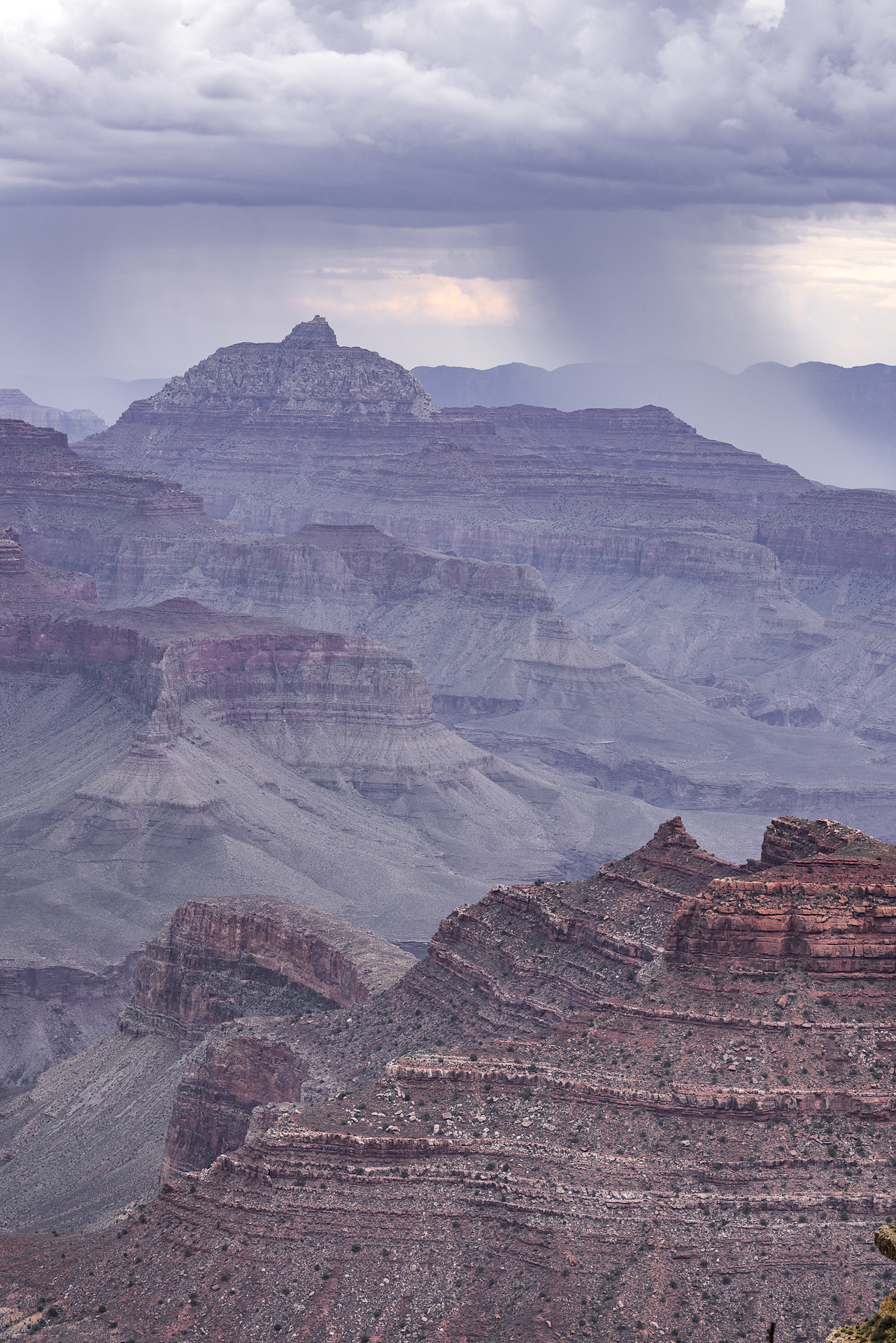 Heavy rain shower over the Grand Canyon, AZ, from Yaki Point