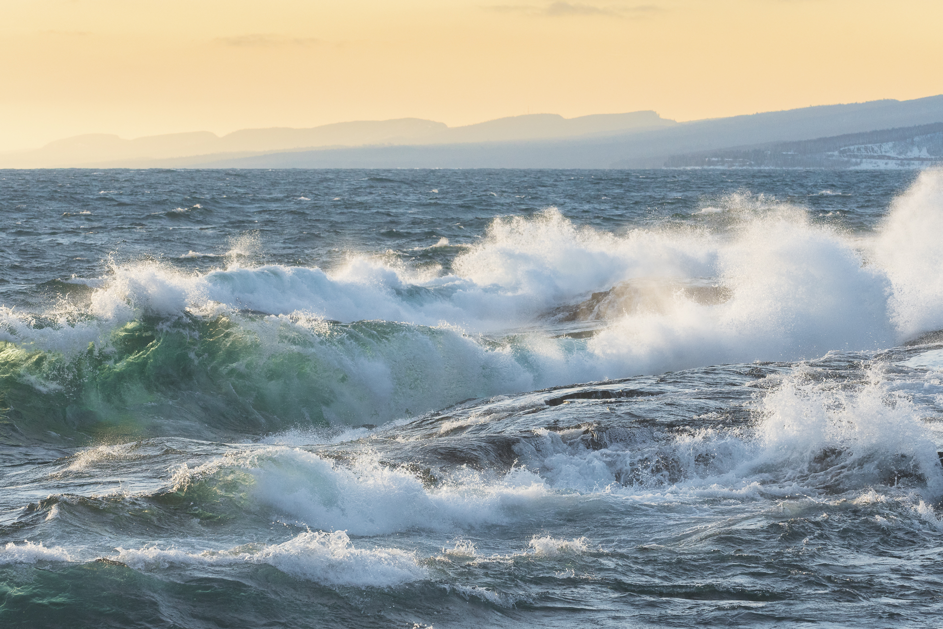 Breakers at sunset. Grand Marais, MN.