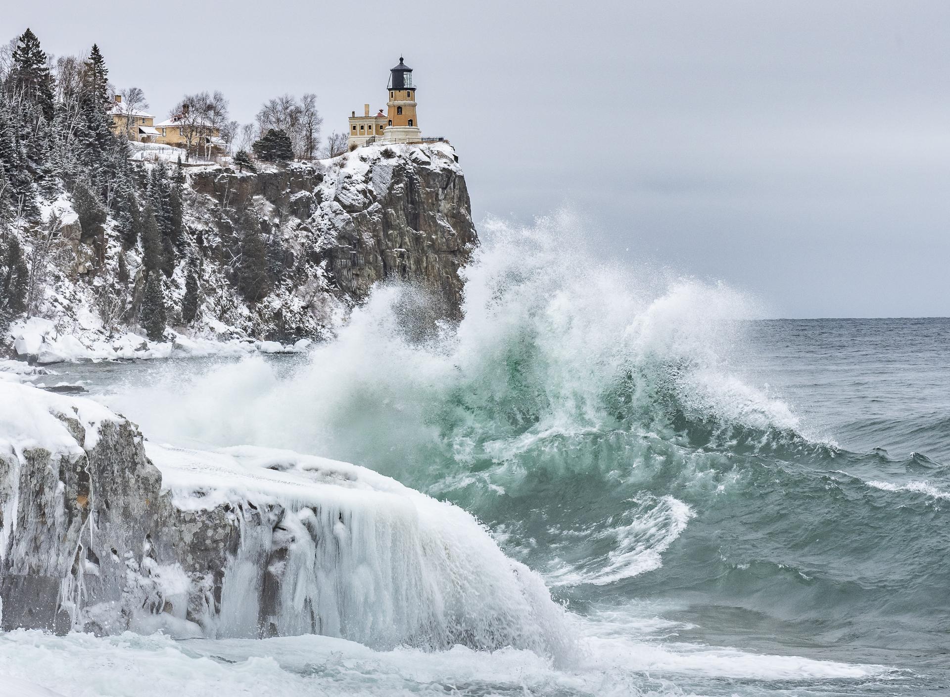 Winter storm: Split Rock Lighthouse State Park