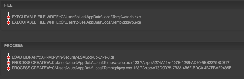"""During the execution, the sample drops two different files in """"%temp%"""" directory that were used during lateral moment and uses named-pipes as a channel for communication for propagation around the network."""