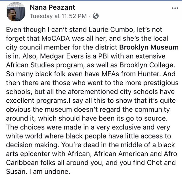 The #brooklynmuseum #wakanda mess is not just upsetting bc of this incident, which is harmful in and of itself, but bc of its larger reflection of the elitism/racism/gate-keeping in the museum/academia/curation world