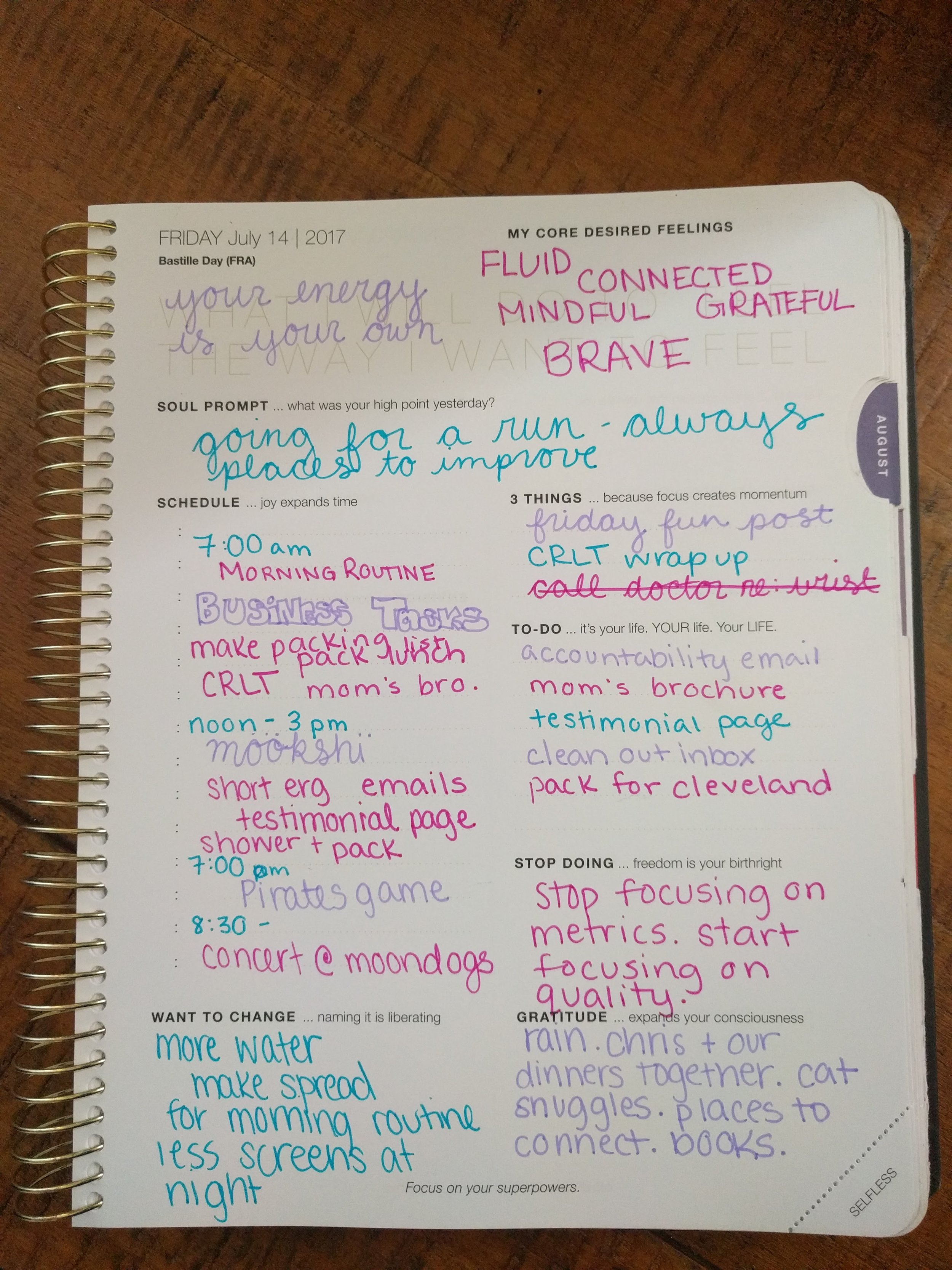 "Daily pages have space for my schedule, my top 3 tasks, a list of lesser to-dos, and a variety of journal prompts. The corner (where it says ""selfless"") is actually a tear-off dog ear, which lets me flip to the current day easily, and gives me a word to focus on - or a piece of paper for the cats to bat around."