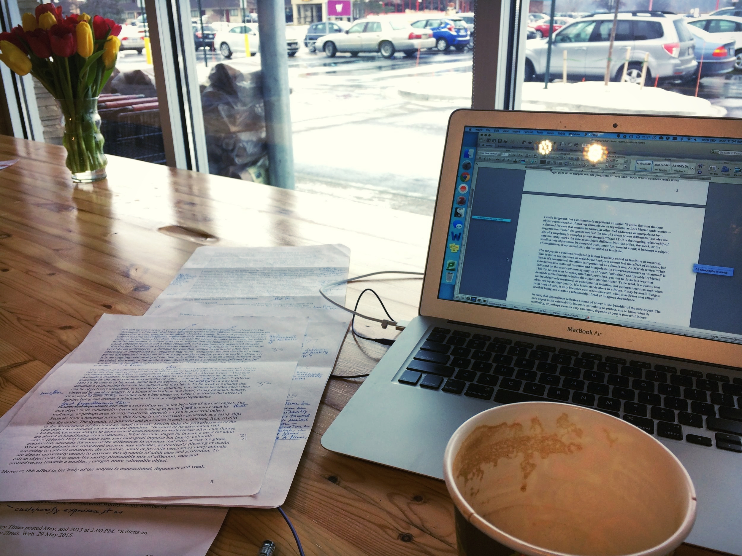 coffee and flowers and writing