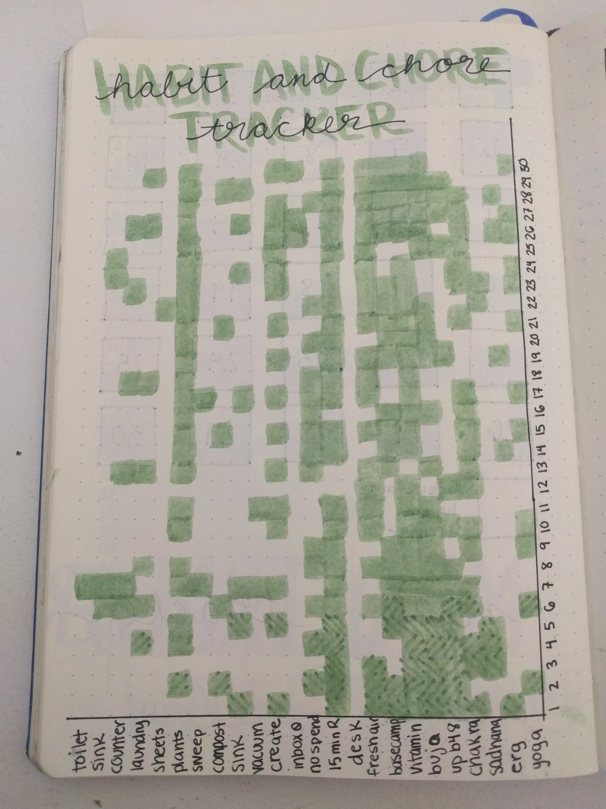 This mega tracker combines my habits and a cleaning chart, but ended up being too small to be practical.