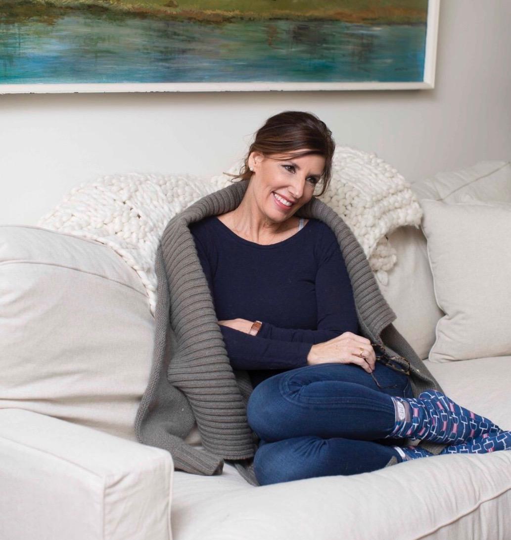 Julie Browning Bova wearing her ribbon bit boot socks!