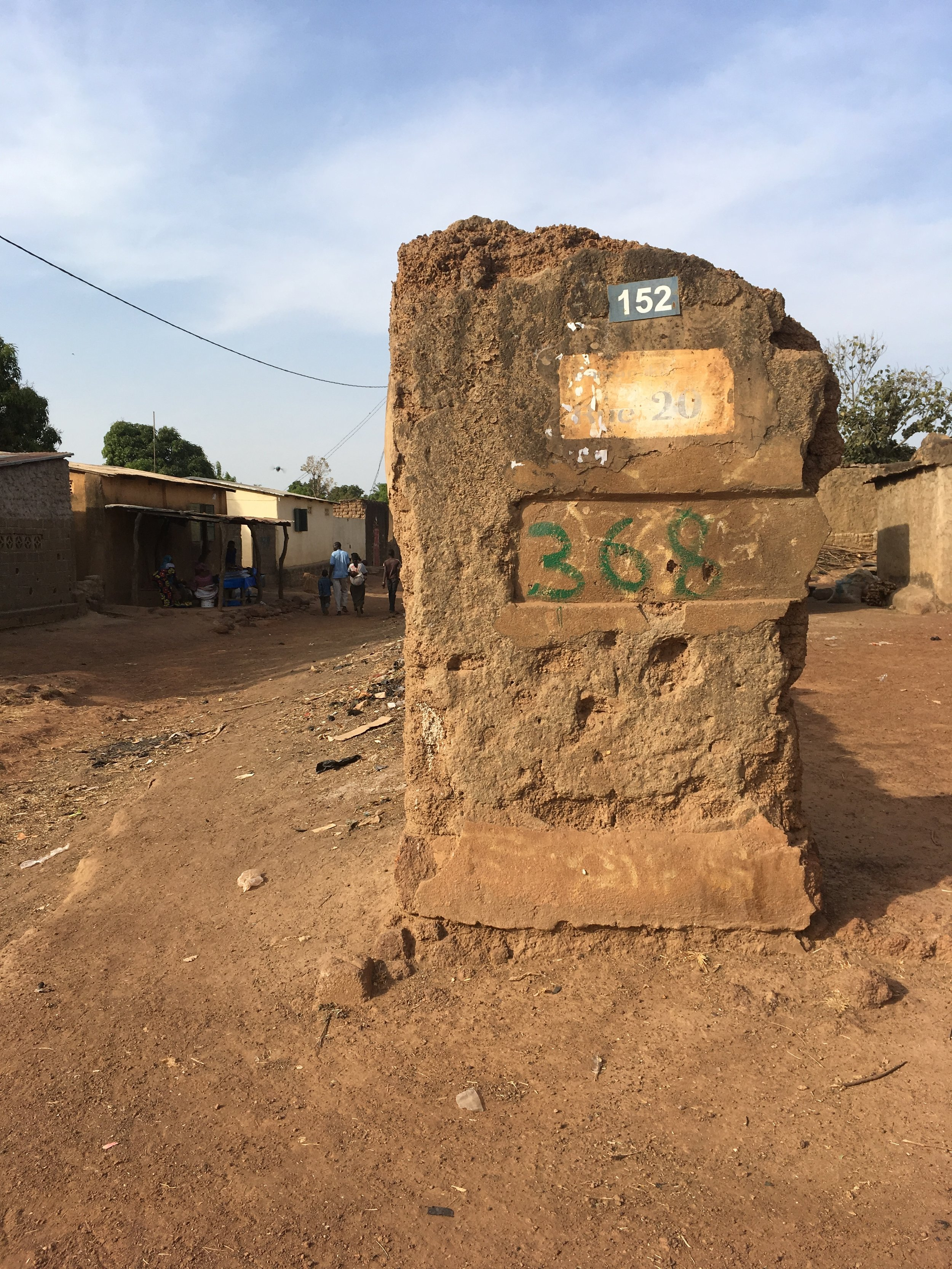 """A corner marker in the """"big"""" town of Ouelessebougou."""