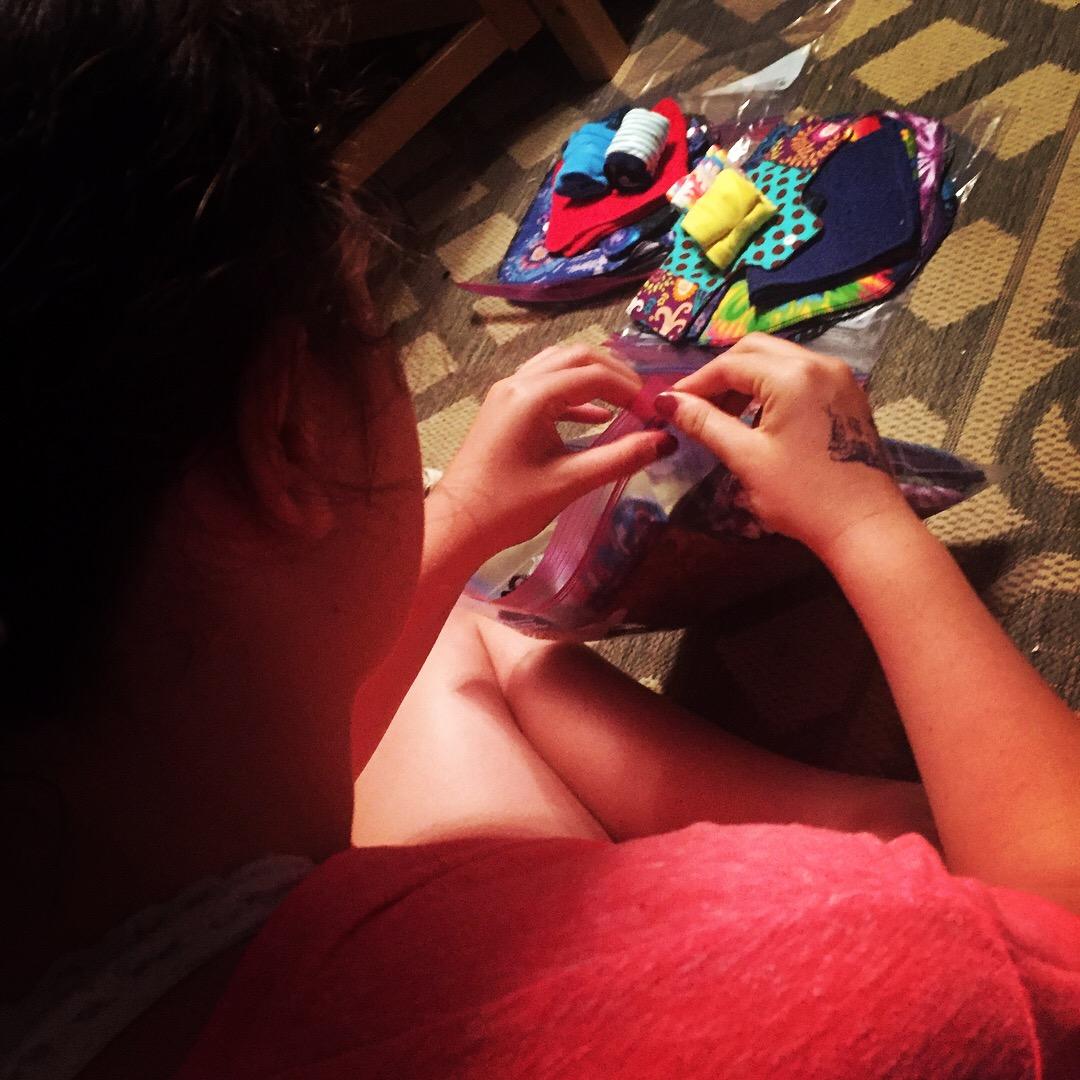 Skyler hard at work on kits.