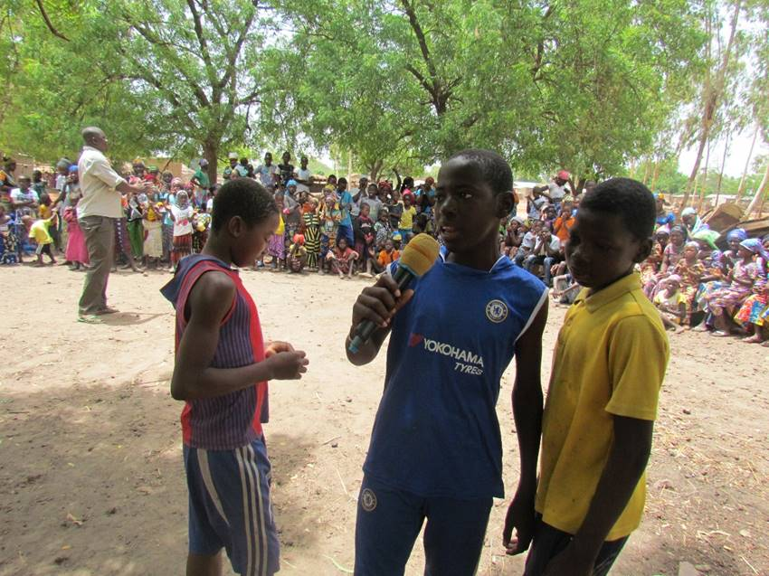 The boys performed a skit about the importance of girls' education.