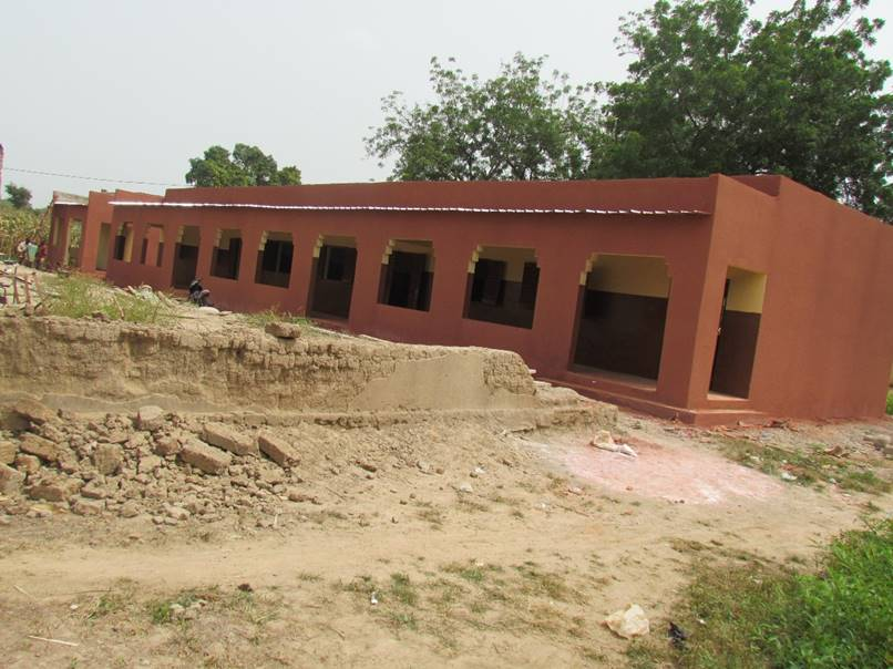 A front view of the nearly finished school.