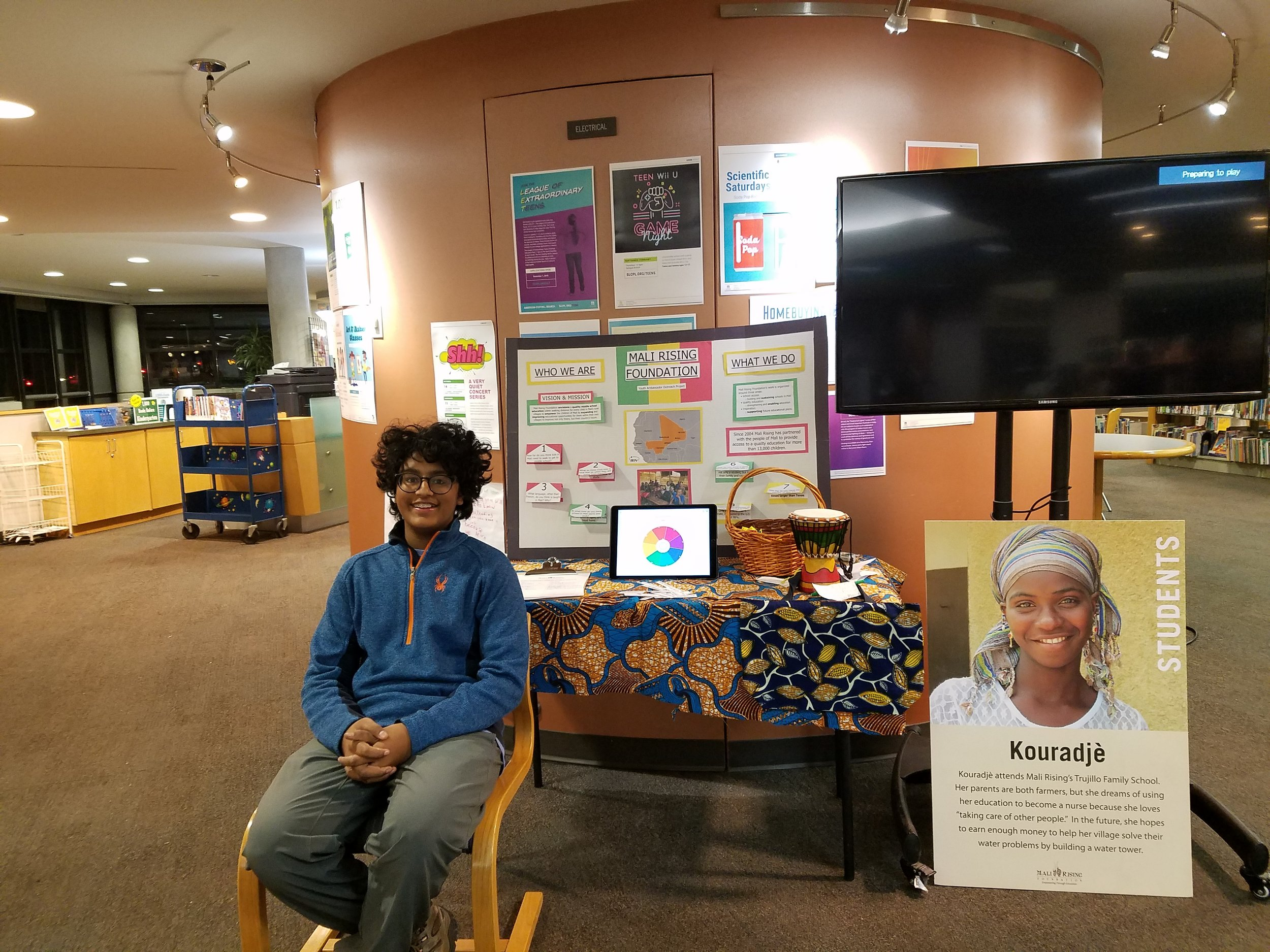 Vishal and his awesome library display!