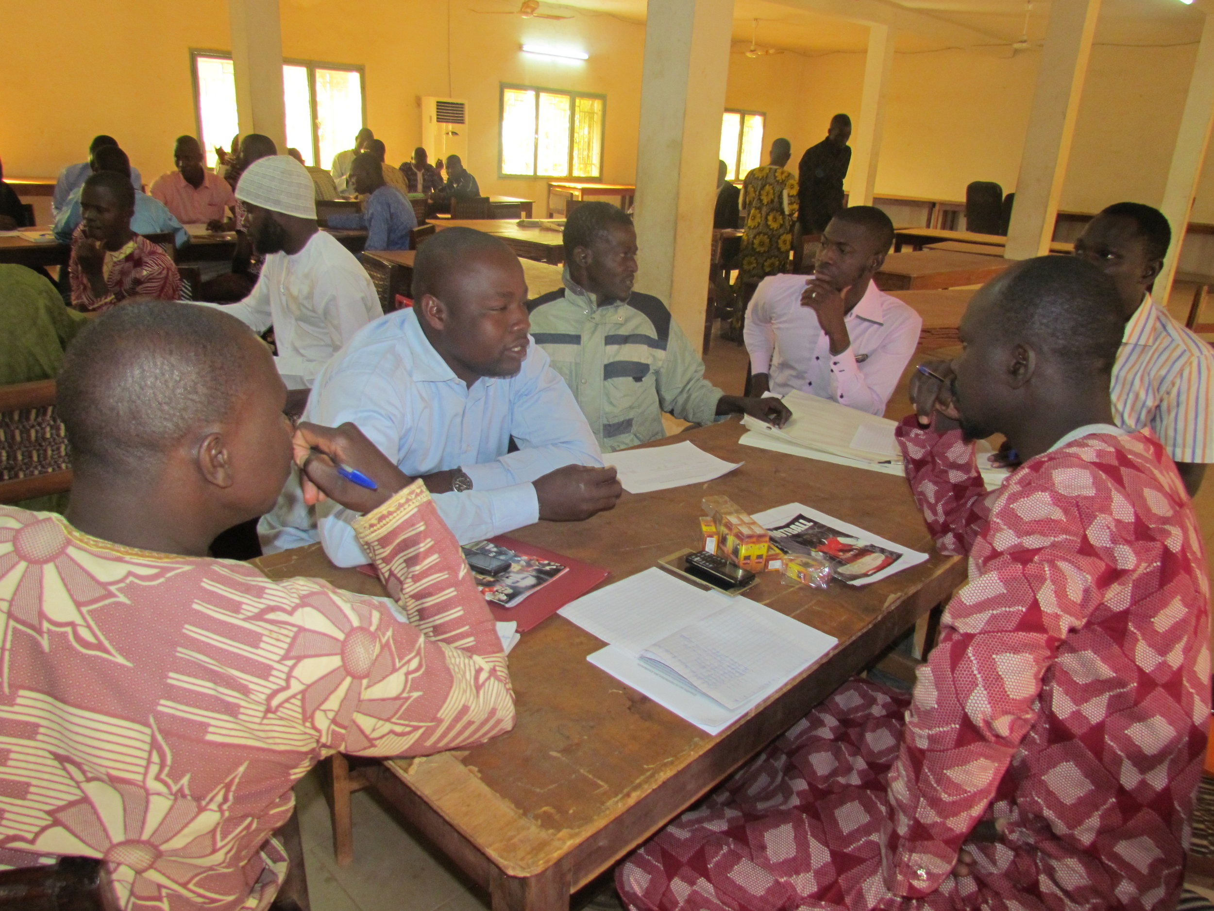 Interestingly, most teachers in Mali are male. But as you can see here, they are very engaged in learning how to better serve all their students — male and female alike.