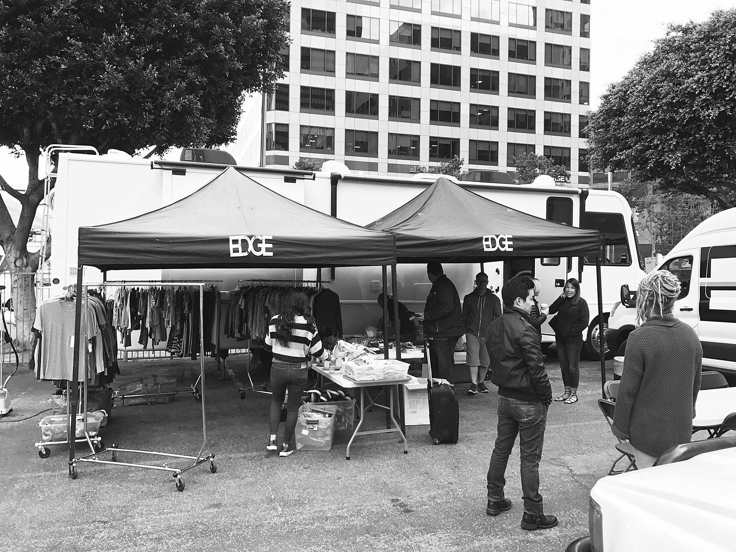 Our home base production area in downtown Los Angeles thanks to EDGE rental complete with RV and Grip truck.