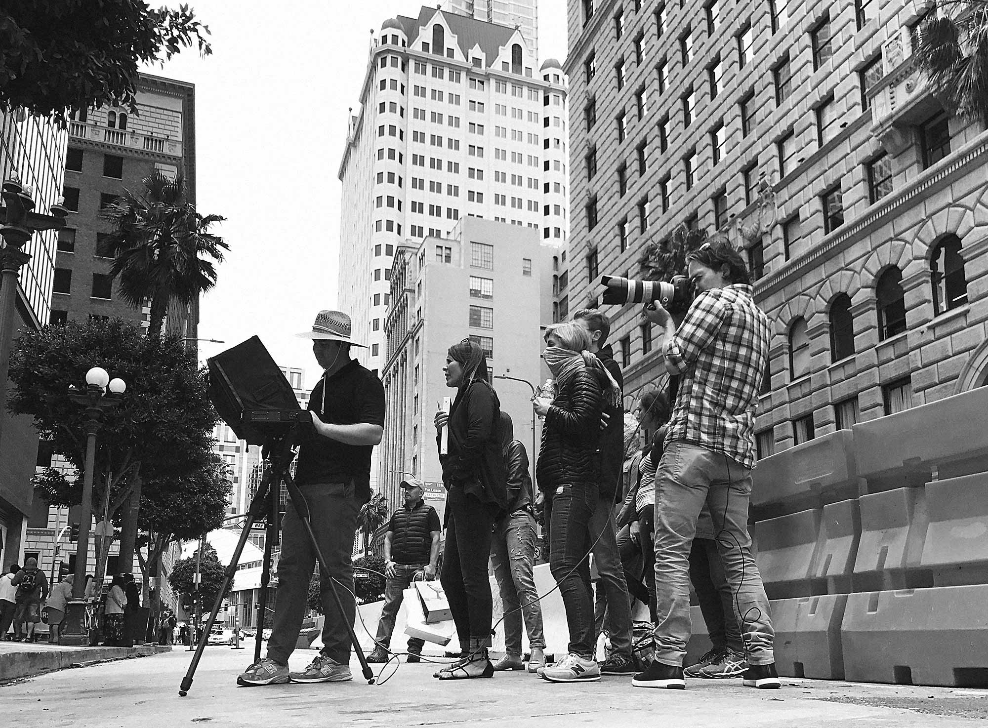 Shooting on the streets of downtown Los Angeles across a 20 block radius permitted to us by the film commission of LA.