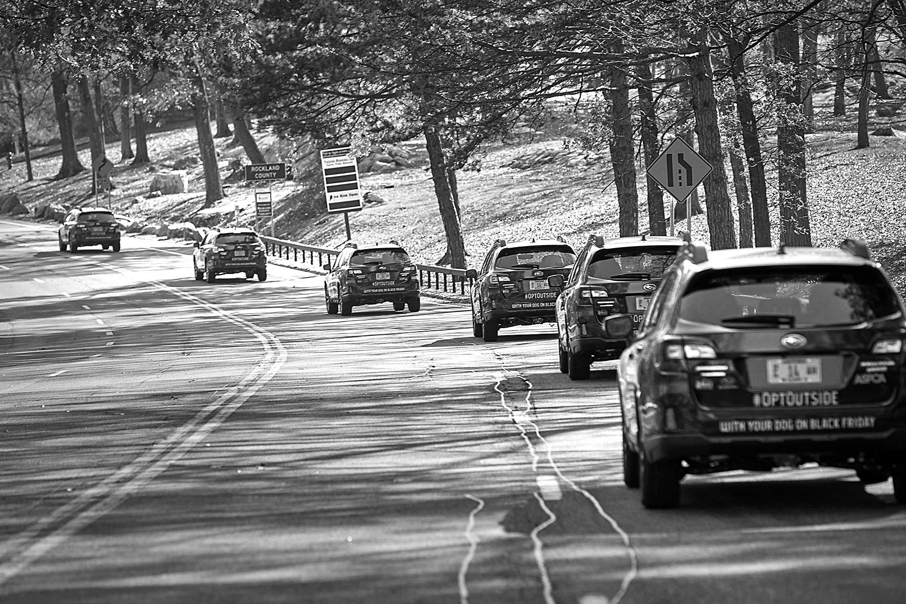 The fleet of Outbacks entering Bear Mountain State park in Upstate NY.
