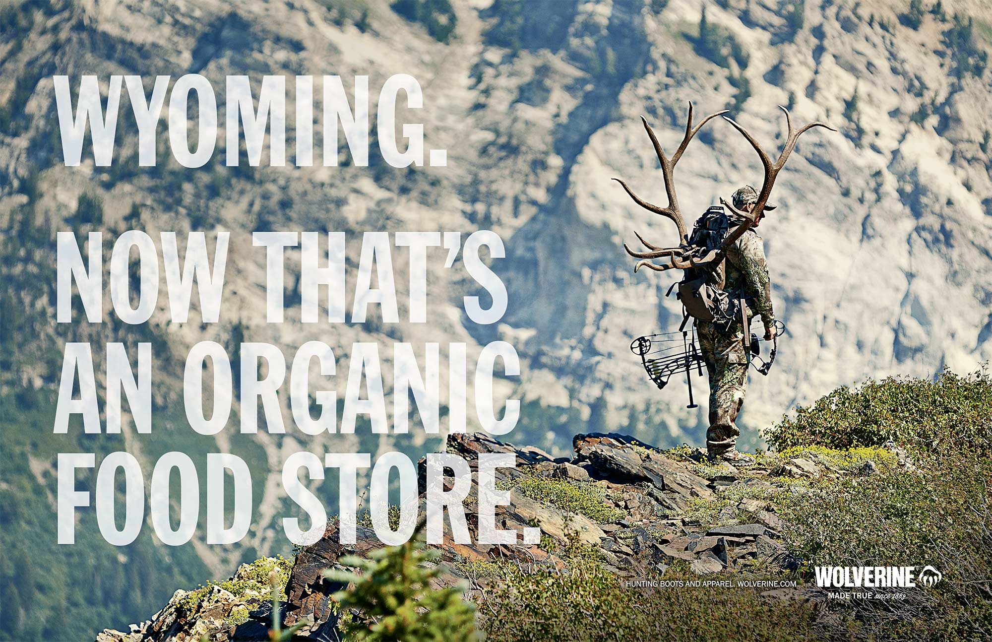 Final print ad for Wolverine outdoor and hunting boots photographed high up in Snowbird, Utah.