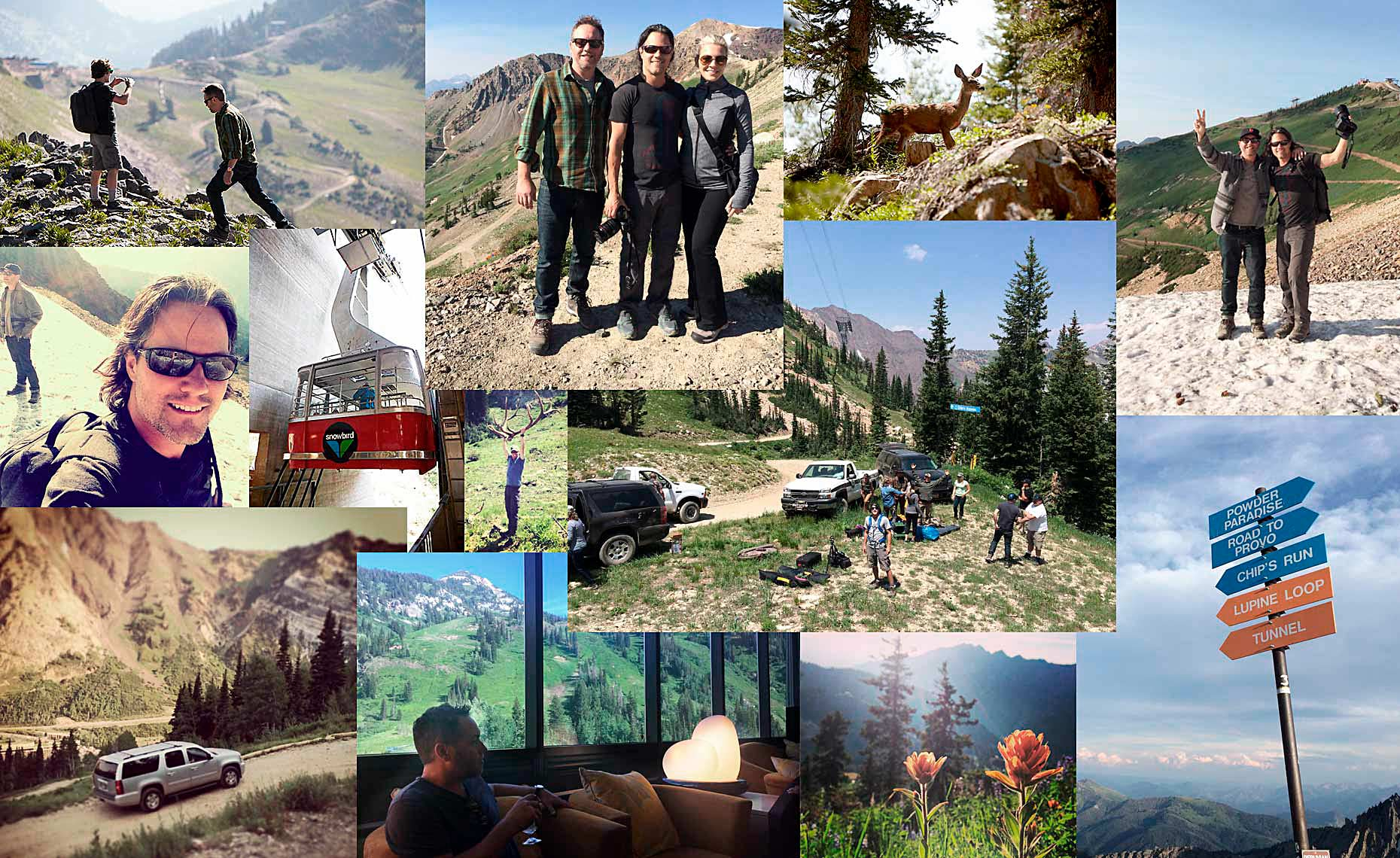 A collage of behind the scenes images from the location in Snowbird, Utah.