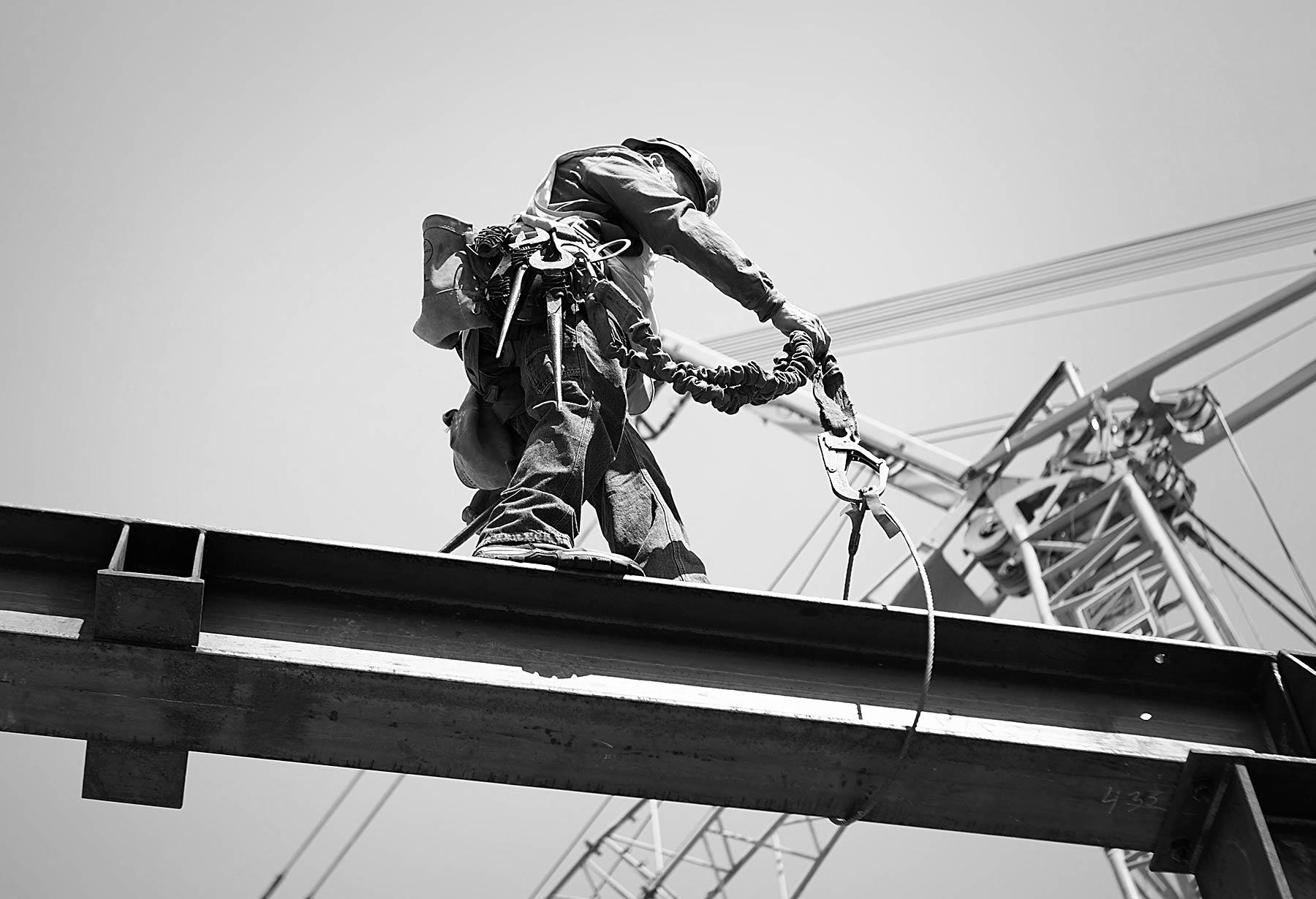 High above Salt Lake city on a construction site.