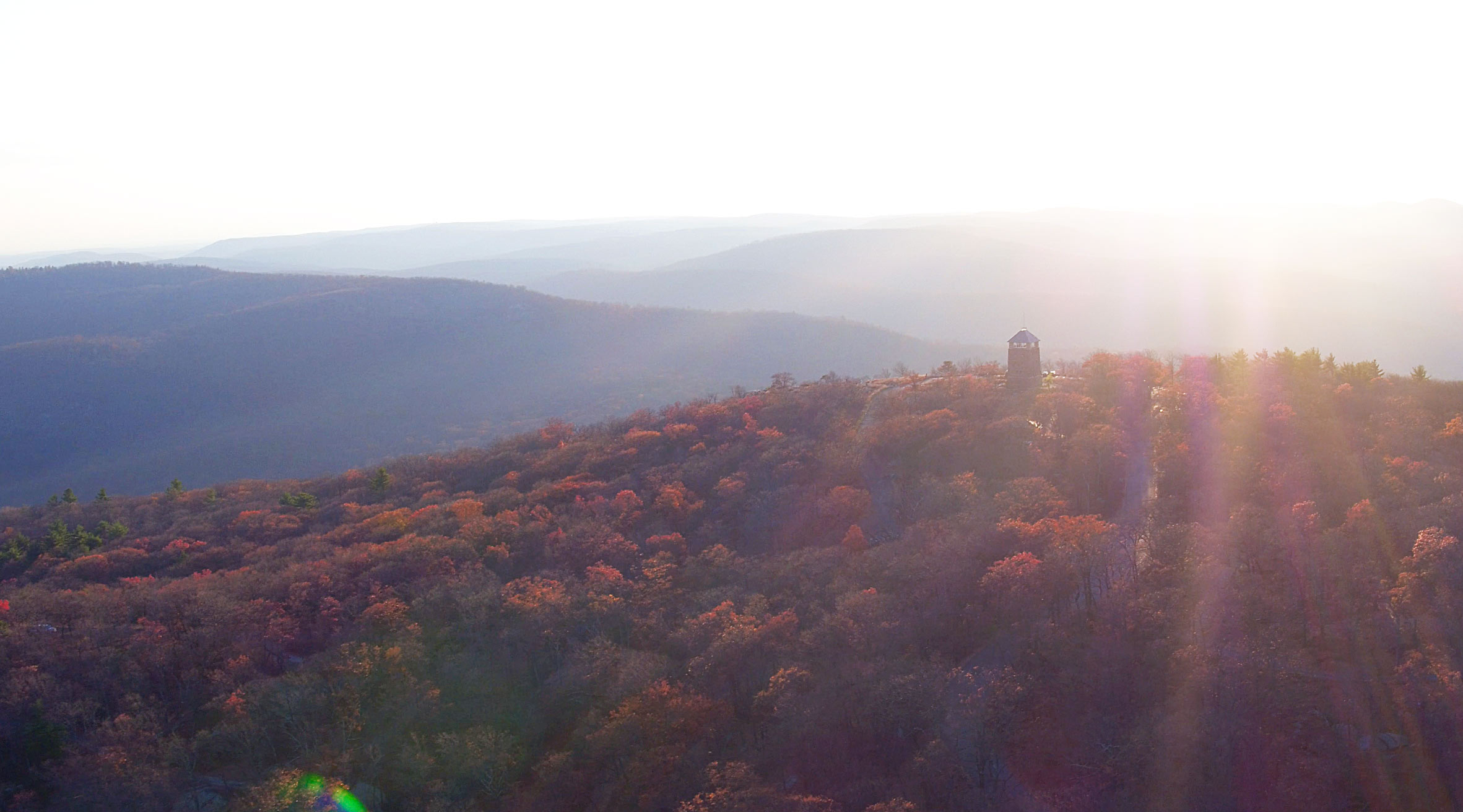 Sunrise over Bear Mountain State Park.