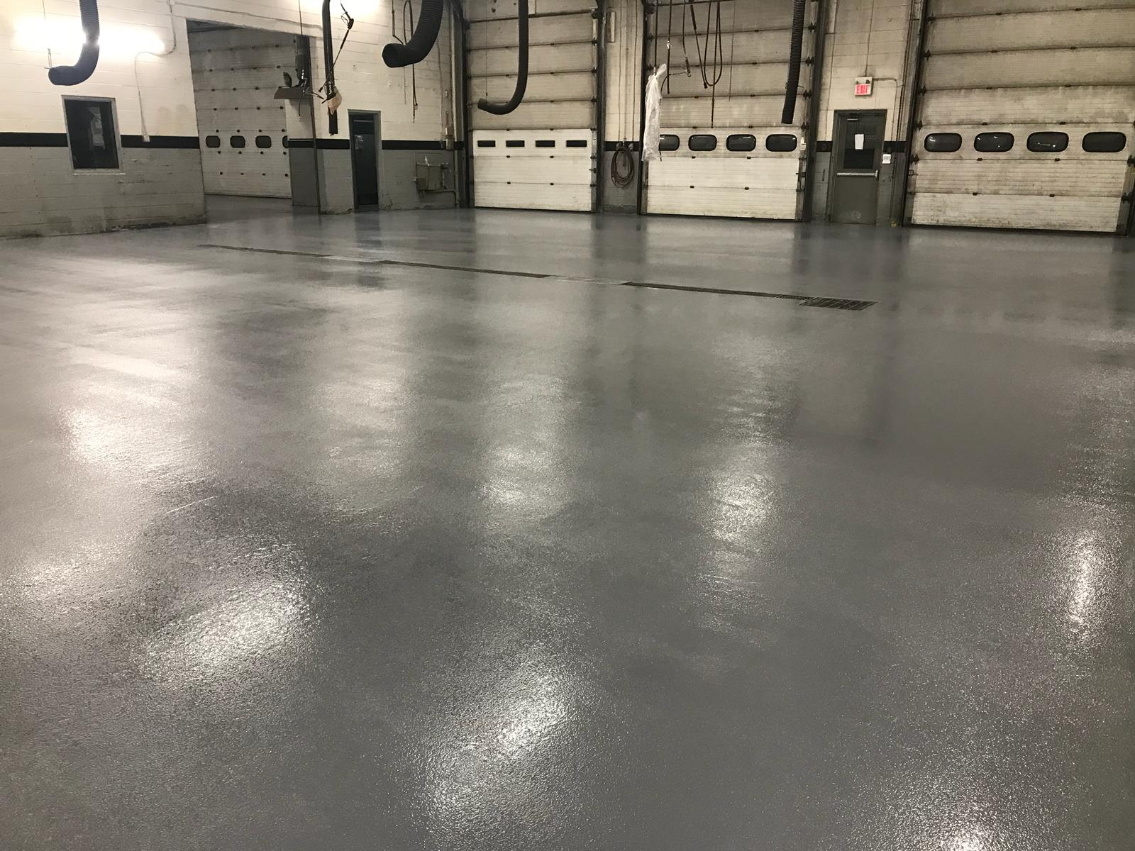 Epoxy mortar system for a truck service bay. Epoxy mortar handles heavy weight loads.