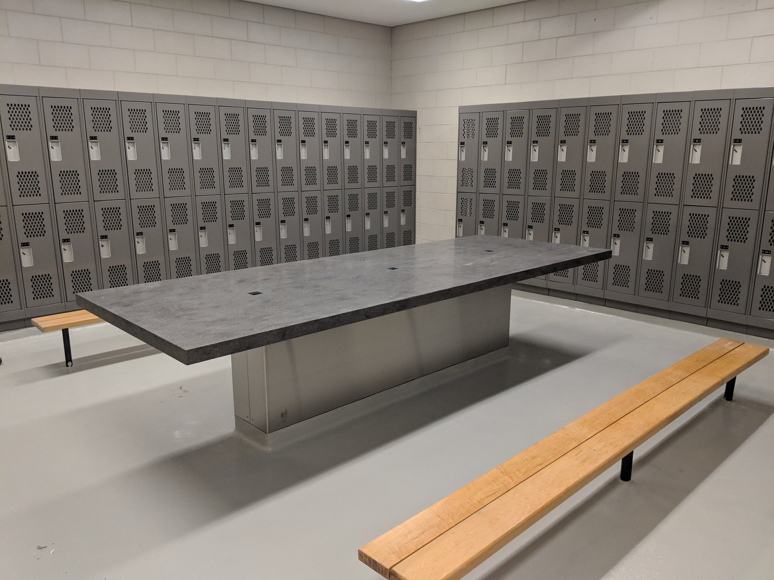 Epoxy flooring supersedes tiles and out performs in every aspect. Durability and ease of clean make it a must have in locker and change rooms.