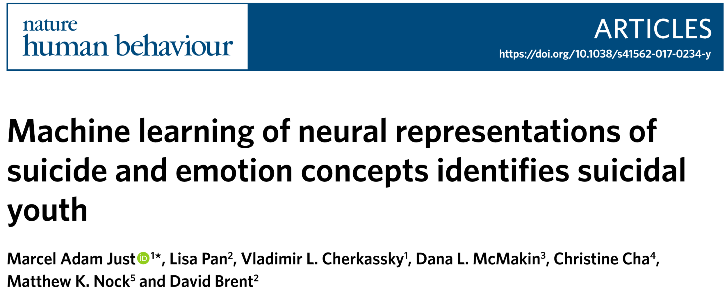 Machine learning of neural representations of suicide and emotion concepts identifies suicidal youth