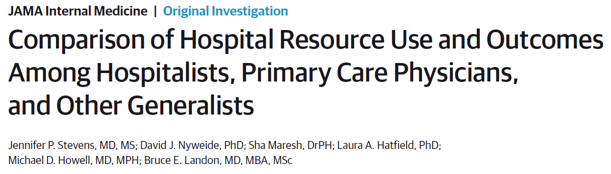 Comparison of Hospital Resource Use and Outcomes Among Hospitalists, Primary Care Physicians, and Other Generalists