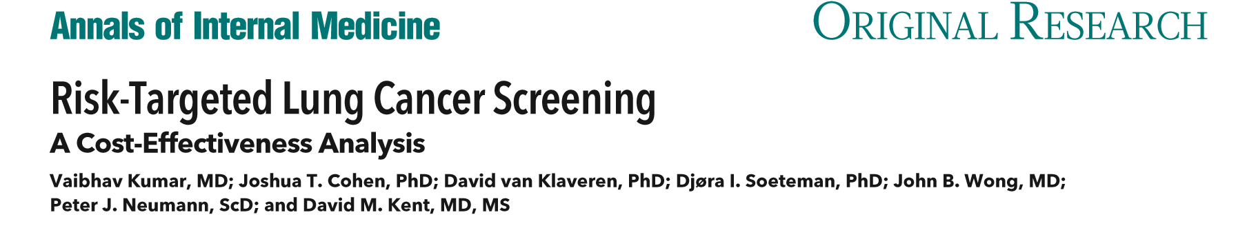 Risk-Targeted Lung Cancer Screening