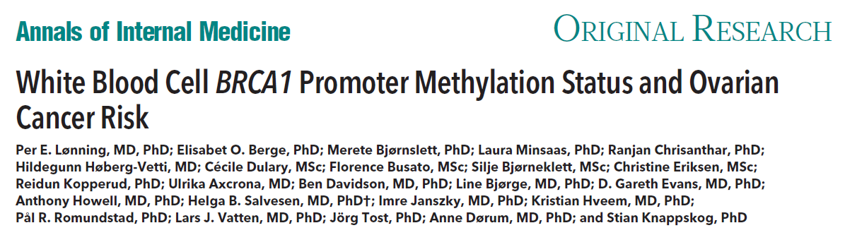 White Blood Cell BRCA1 Promoter Methylation Status and Ovarian Cancer Risk