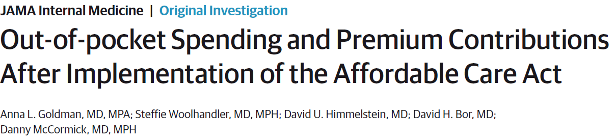 Out-of-pocket Spending and Premium Contributions After Implementation of the Affordable Care Act