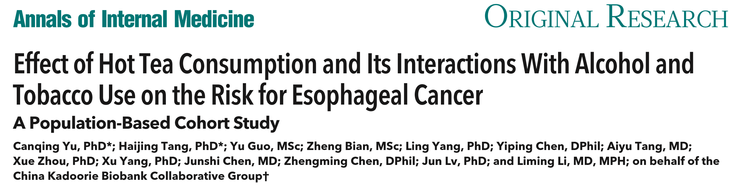 Effect of Hot Tea Consumption and Its Interactions With Alcohol and Tobacco use on the Risk for Esophageal Cancer