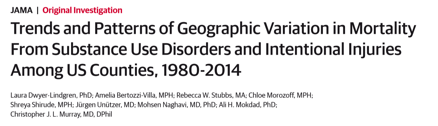Trends and Patterns of Geographic Variation in Mortality From Substance Use Disorders and Intentional Injuries Among US Counties, 1980-2014