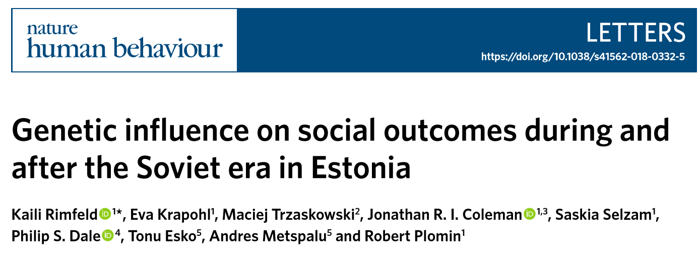 Genetic influence on social outcomes during and after the Soviet era in Estonia